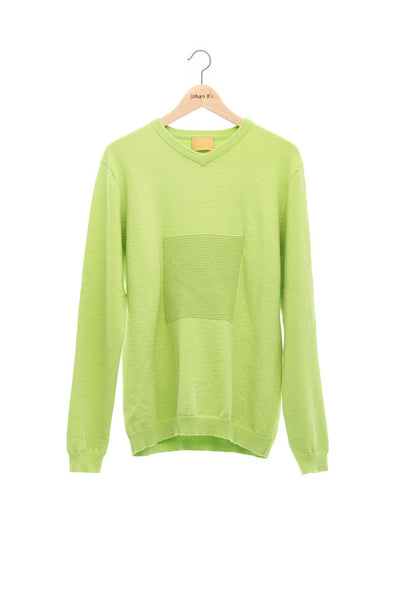 Andy Collection- 2.5D Square Detail Knitted V Neck Top- Grass Green