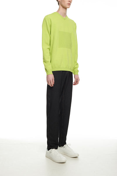 Andy Collection- 2.5D Square Detail Knitted V Neck Top- Grass Green - Johan Ku Shop