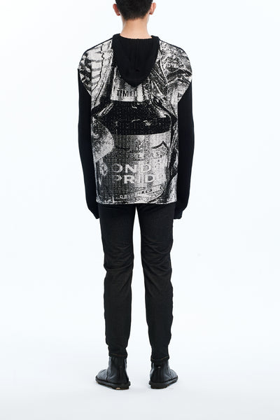 Andy Collection- Over-sized Back Knitted Jacquard Hoodie - Johan Ku Shop