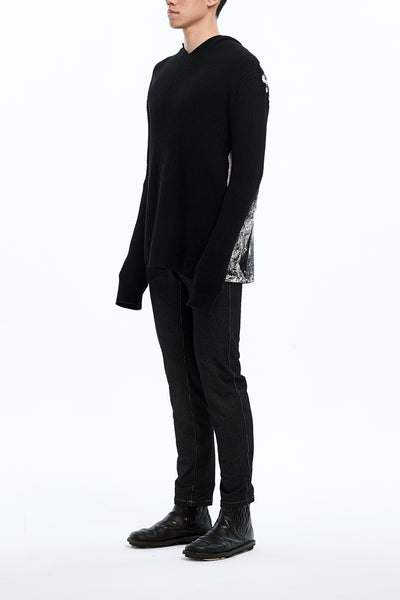 Andy Collection- Over-sized Back Knitted Jacquard Hoodie