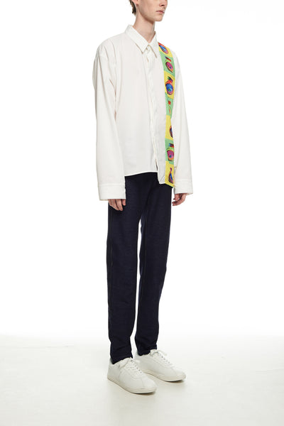 Andy Collection- Over-sized Graphic Square Detailed Shirt