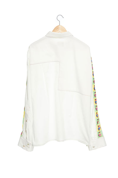 Andy Collection- Over-sized Pop Art Graphic Sleeve White Shirt