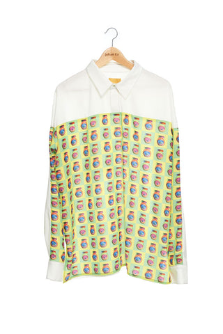 Andy Collection- Front Yellow/Green Pop Art Graphic Over-sized White Shirt