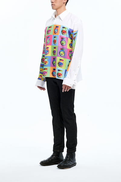 Andy Collection- Full Colour Front Square Graphic Over-sized White Shirt