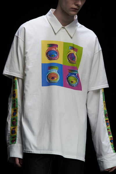 Andy Collection- Pop Art 4 Squared Marmite Graphic T-Shirt - White