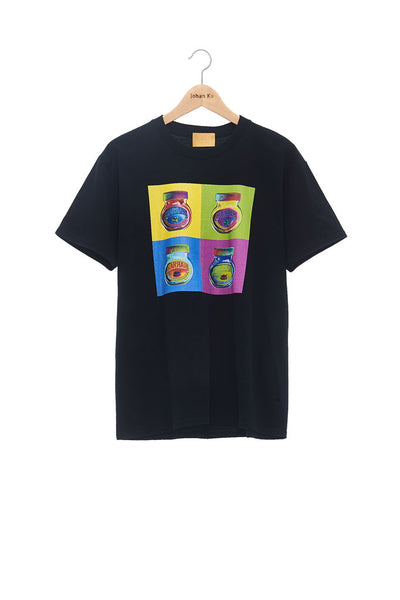 Andy Collection- Pop Art 4 Squared Marmite Graphic T-Shirt - Black