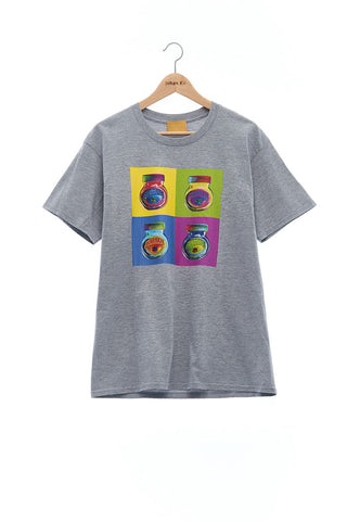 Andy Collection- Pop Art 4 Squared Marmite Graphic T-Shirt - Gray