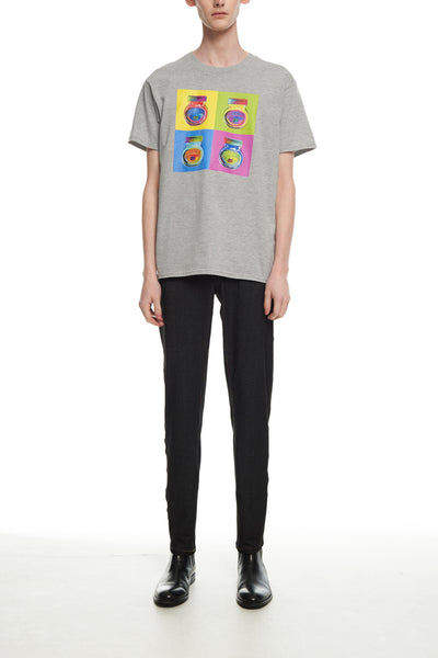 Andy Collection- Pop Art 4 Squared Marmite Graphic T-Shirt - Gray - Johan Ku Shop
