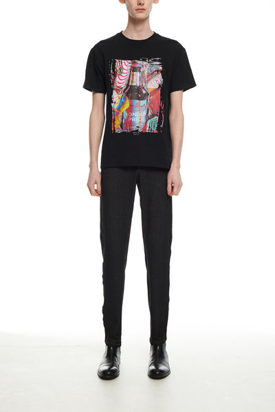 Andy Collection- British Supermarket Inspired Graphic T-Shirt - Wine(Black)