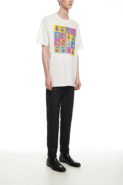 Andy Collection- Pop Art Muilti Squared Marmite Graphic T-Shirt - White - Johan Ku Shop