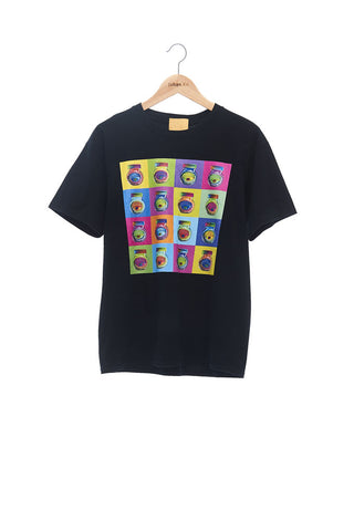Andy Collection- Pop Art Muilti Squared Marmite Graphic T-Shirt - Black