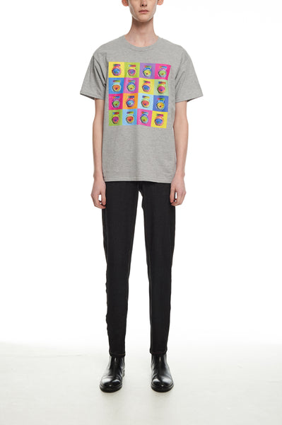 Andy Collection- Pop Art Muilti Squared Marmite Graphic T-Shirt - Gray