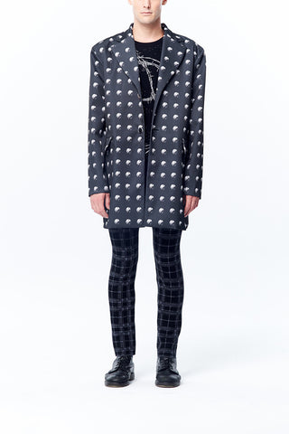 Oversize Rivet Dots Printed Long Coat