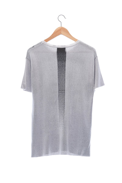 Elioliver Collection- Fade Out Sculpture Knitted Jacquard Top - Gray