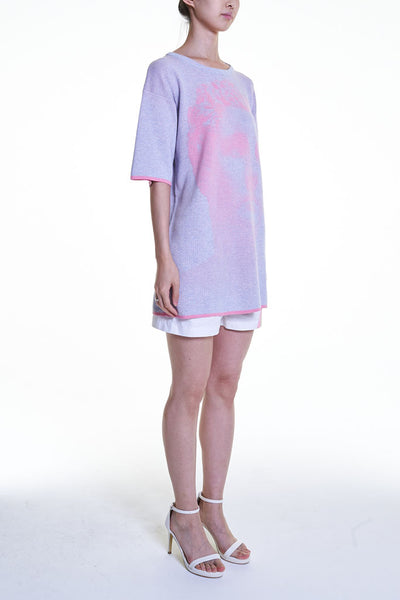 Elioliver Collection- Sculpture Knitted Jacquard Over-sized Top - Lavender Blush