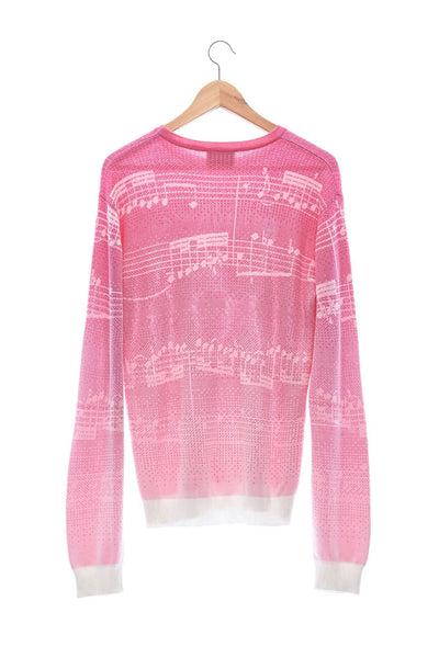 Elioliver Collection- Note Graphic Knitted Jacquard Top - Fuchsia/White