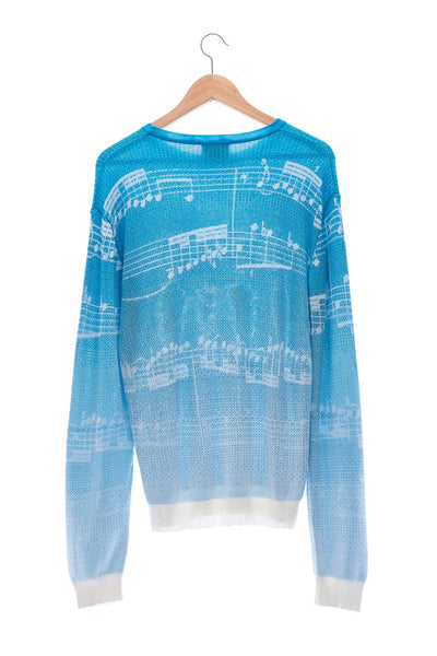 Elioliver Collection- Note Graphic Knitted Jacquard Top - Blue/White