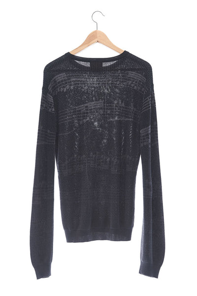 Elioliver Collection- Note Graphic Knitted Jacquard Top - Black/Dark Gray