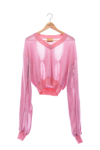 Elioliver Collection- Cut-Out See Through Knitted Top - Pink