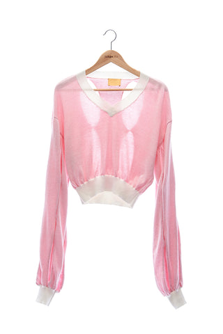 Elioliver Collection- Cut-Out See Through Knitted Top - White/Pink