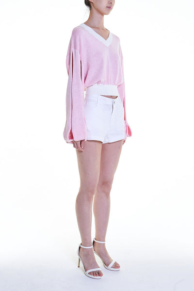 Elioliver Collection- Cut-Out See Through Knitted Top - White/Pink - Johan Ku Shop