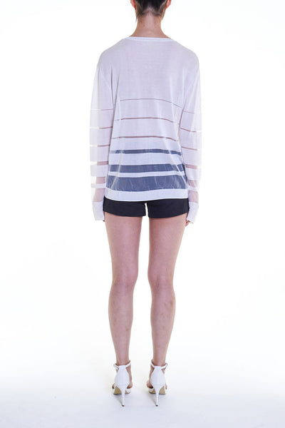 Elioliver Collection- See-Through Stripe Knitted Top - White
