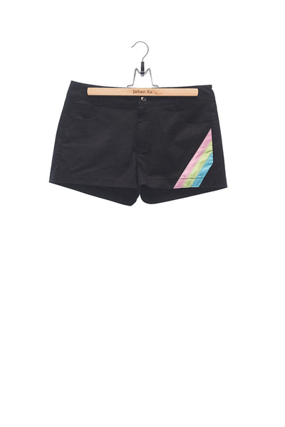 Elioliver Collection- Pastel Rainbow Detailed Hot Pants - 黑色