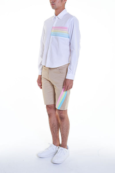 Elioliver Collection- Pastel Rainbow Detailed Short Pants - Khaki