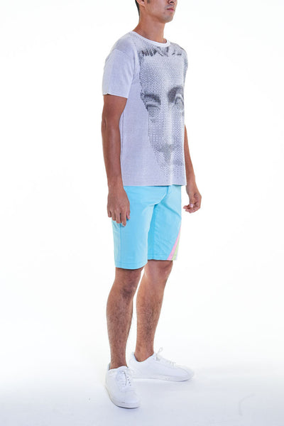 Elioliver Collection- Pastel Rainbow Detailed Short Pants - Powder Blue