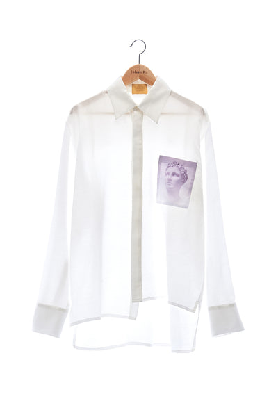 Elioliver Collection- Sculpture Graphic Pocket Over-Sized Shirt - White