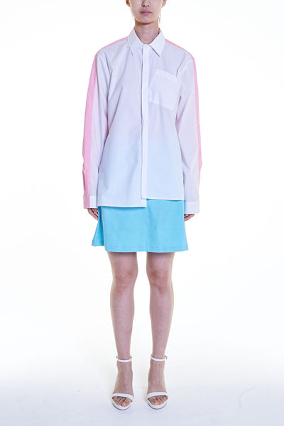 Elioliver Collection- Contrast Colour Over-Sized Shirt - White/Pink