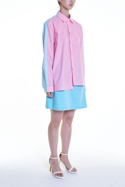 Elioliver Collection- Contrast Colour Over-Sized Shirt - Pink/Blue