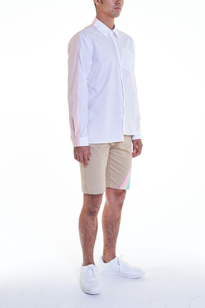 Elioliver Collection- Contrast Colour Over-Sized Shirt - White/Skin