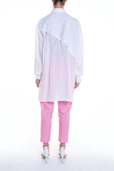 Elioliver Collection- Asymmetry Details Over-Sized Shirt - White