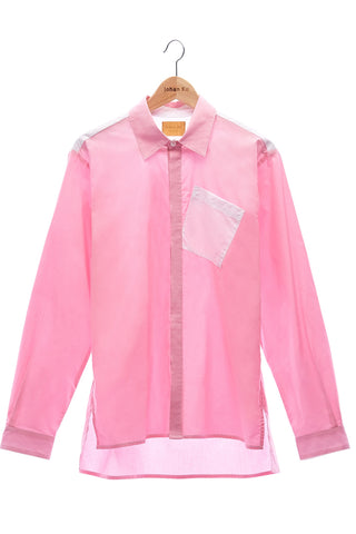 Elioliver Collection- Contrast Colour Details Over-Sized Shirt - Pink/White