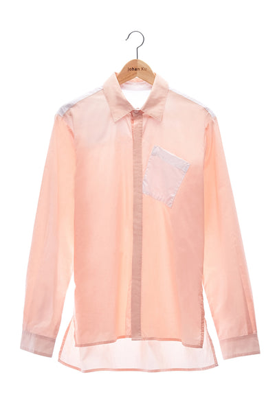 Elioliver Collection- Contrast Colour Details Over-Sized Shirt - Skin/White