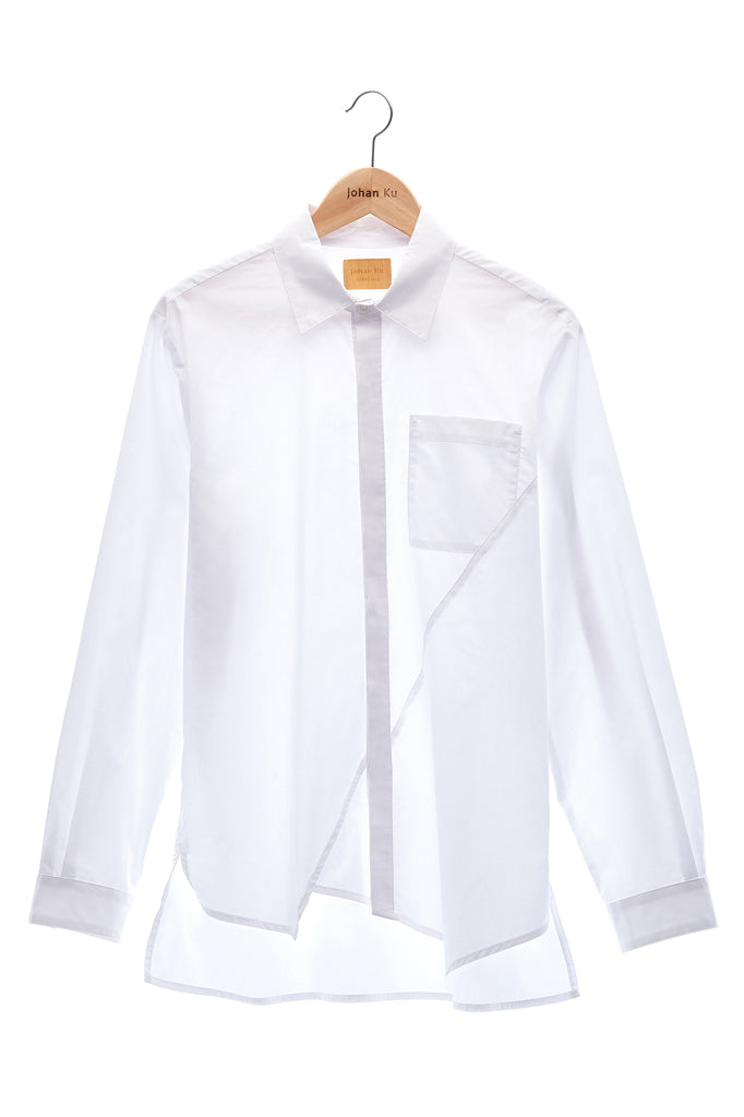 Elioliver Collection- Asymmetry Details Cotton Shirt - White