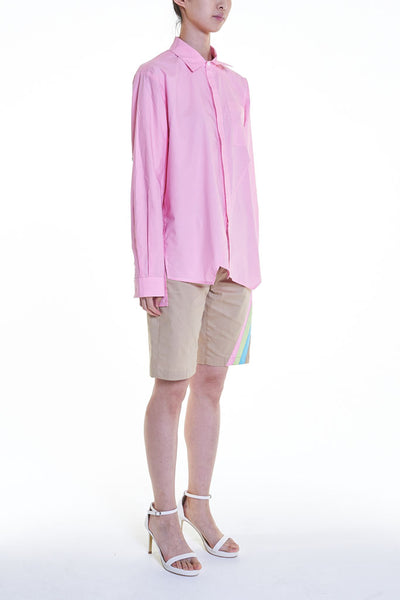Elioliver Collection- Asymmetry Details Cotton Shirt - Pink