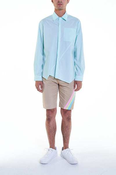 Elioliver Collection- Asymmetry Details Cotton Shirt - Powder Blue