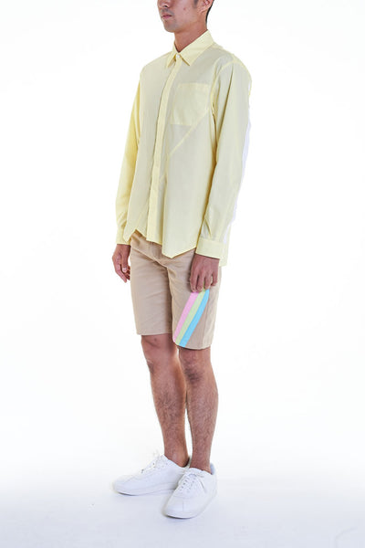 Elioliver Collection- Asymmetry Details Cotton Shirt - Light Yellow - Johan Ku Shop