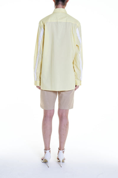 Elioliver Collection- Asymmetry Details Cotton Shirt - Light Yellow