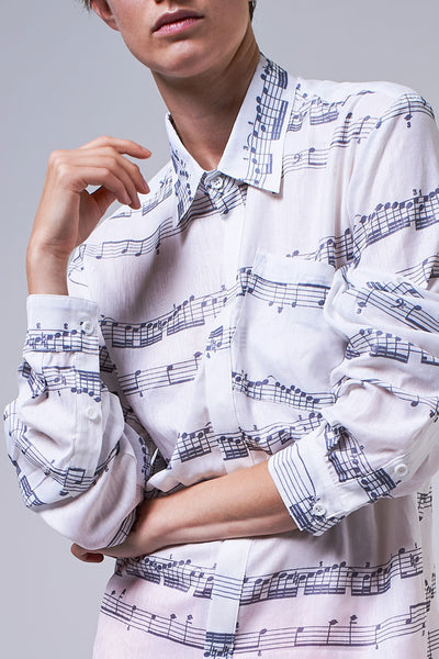 Elioliver Collection- Music Note Printed Shirt - Johan Ku Shop