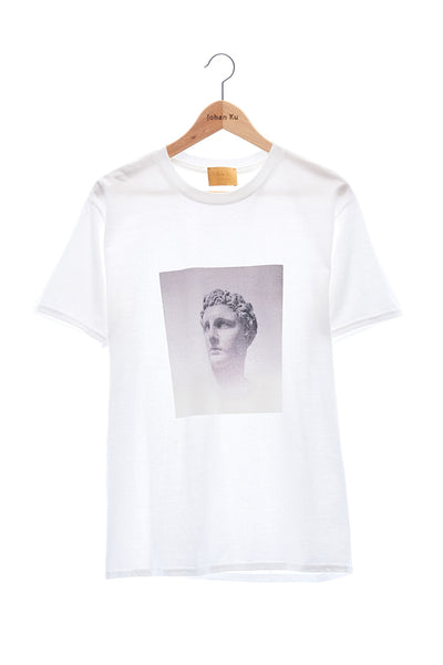 Elioliver Collection- Fade Out Sculpture Graphic T-Shirt - White