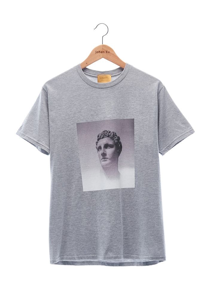 Elioliver Collection- Fade Out Sculpture Graphic T-Shirt - Melange Gray