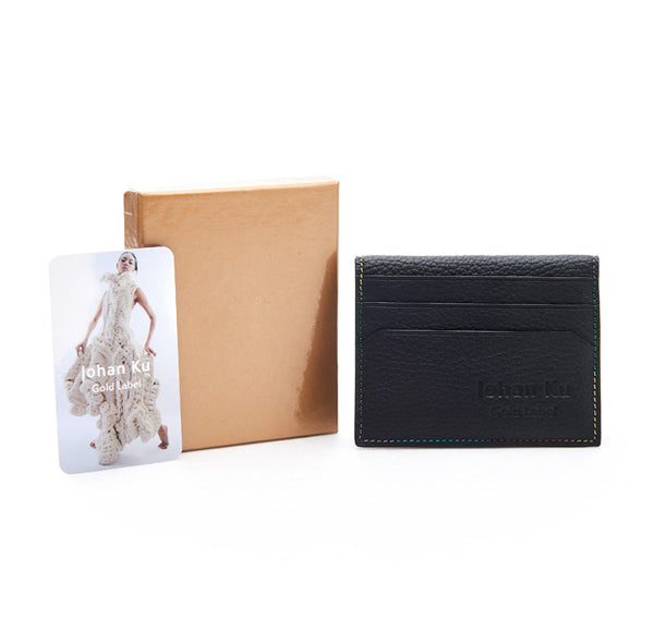 Elliot Collection - Rainbow Colour Stitch Leather Card Holder