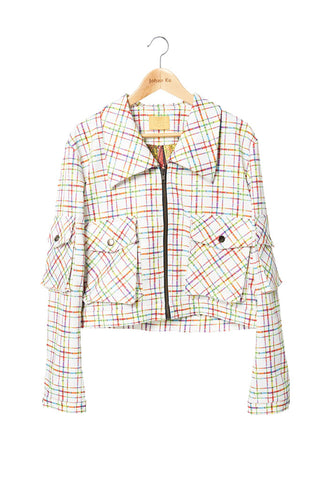Elliot Collection- Lighter Plaid Print Jacket