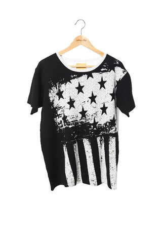 Elliot Collection- America Flag Image Knitted Jacquard Top -Black