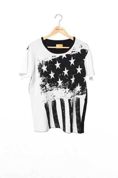 Elliot Collection- America Flag Image Knitted Jacquard Top - White