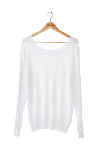 Elliot Collection- Peace Mark Stitches Knitted Long Top - White