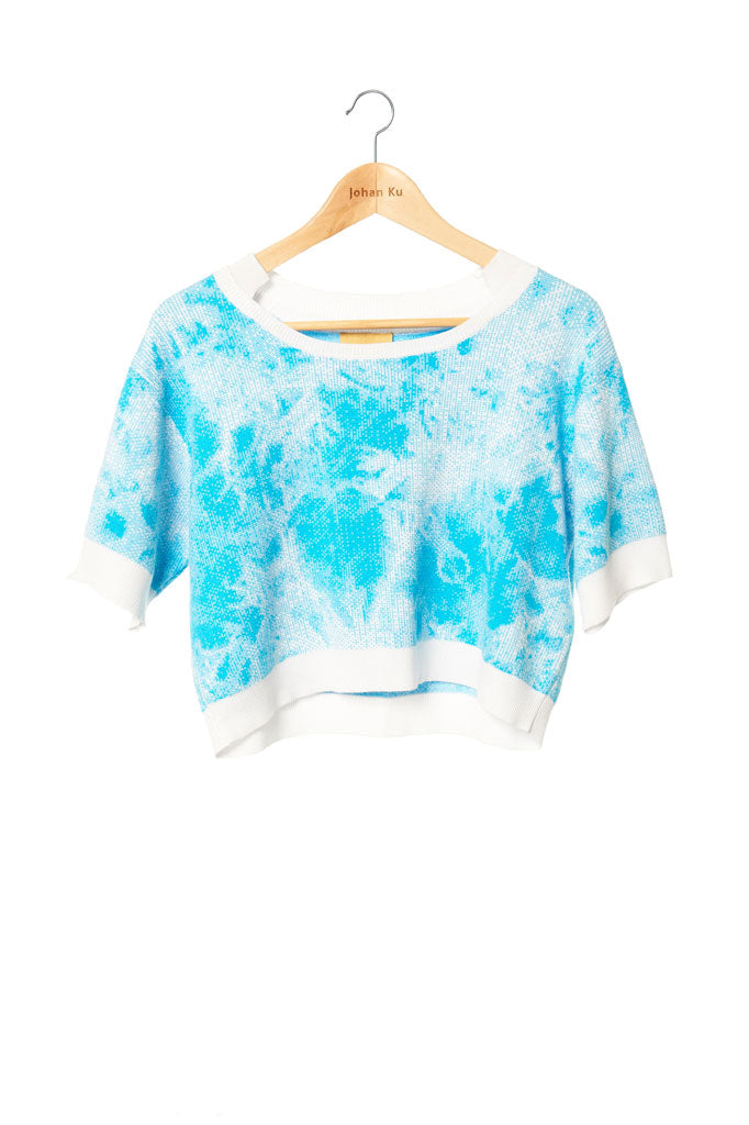 Elliot Collection- Tie Dye Image Knitted Jacquard Short Top - Blue